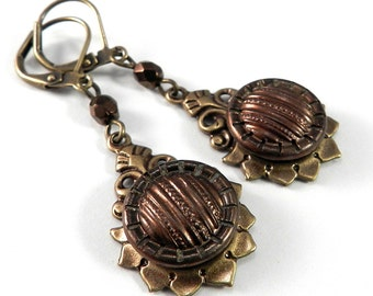Vintage Button Earrings - Victorian Button Jewelry - Burgundy Plum Rust - Teardrop - Victorian Edwardian Jewelry