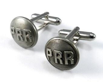 Steampunk Cufflinks, Pennsylvania Railroad Vintage Buttons, Antique Cuff Links - Steel