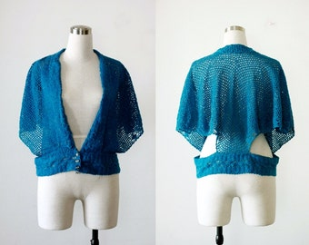 80's Summer Knit Vintage Teal Blue Shrug Sweater Knitted Top S M