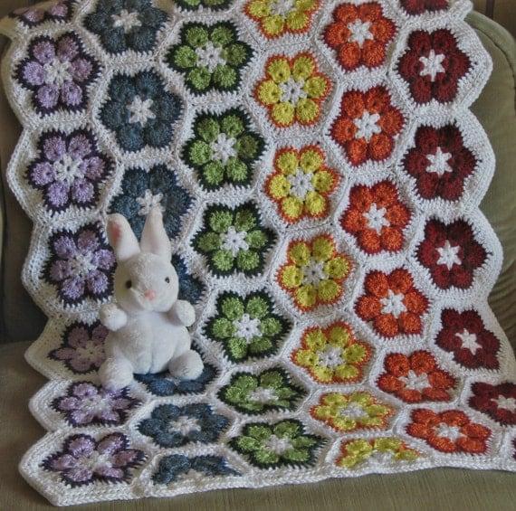 African Flower Crochet Baby Blanket Pattern : Rainbow African Flower Crochet Baby Blanket 24 32