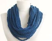 Chain infinity scarf blue crochet necklace loop scarf women scarves indigo blue fiber necklace