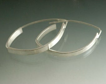 Sterling Silver Elliptical Hoop Earrings, Simple hoop Earrings, Wide Silver Hoop Earrings, Everyday silver Earrings