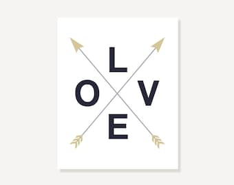 Love Crossed Arrows Art Print Poster, Perfect Gift for Modern Bedroom Bathroom Home Decor