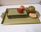 """Serving Trays 9 Pc Serving Set Atomic Ranch Chic Hostess Collection Mid-Century Modern Eames Era """"Moire Kyes Of California"""" Sage Green Glaze"""