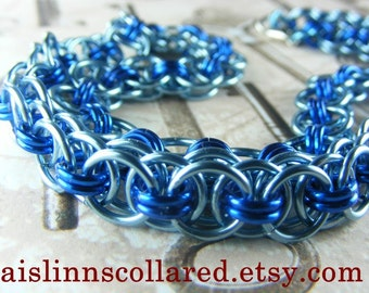 Sky Blue and Royal Blue Chainmaile BDSM Slave Collar Choker Necklace