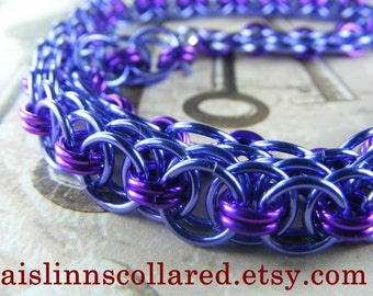 Lavender and Violet Chainmaille BDSM Slave Collar Choker Necklace