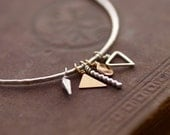 Charm Bangle - Sterling Silver and 14kt Goldfill - Geometric