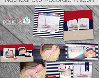 INSTANT Download Nautical 3x3 Mini-Accordion Album- custom photo templates for photographers- WHCC, Miller's Lab and ProDigital Photos Specs
