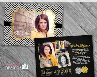 INSTANT DOWNLOAD - Chalk It Up Graduation Announcement No. 5- 5x7 photo templates for photographers on WHCC, Miller's and Pro Digital Specs