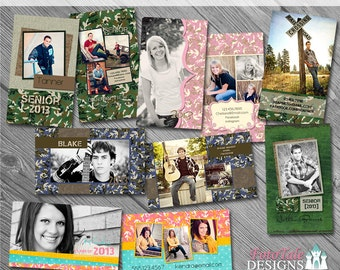 Camouflaged Senior Rep/411 Cards- custom photo templates for photographers on WHCC and Miller's Lab Specs