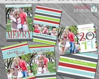 INSTANT DOWNLOAD Cheerful and Bright 5x7 Greeting Card Collection- Set of 3 custom photo templates on WHCC and Pro Digital Photos Specs