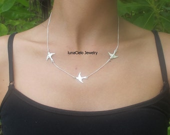 Sterling Silver Three Birds Necklace, little bird necklace, everyday jewelry, bridesmaid gift, flying swallow bird necklace, all sterling