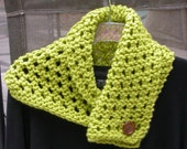 Knit Lace Cowl, Scarf, Neck Piece, choose Lime Green, Bright Blue, Yellow or Pale Pink  Bulky Yarn, Acrylic with Button Closure, Versatile,