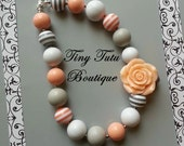 PEACH and GRAY FLOWER Chunky Necklace- Chunky bubblegum necklace, Girls chunky necklace, Gumball necklace, Chunky beaded necklace