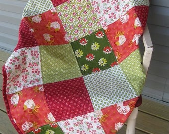 Handmade Country Baby Girl Patchwork Quilt Red/Green/Yellow Daisies & Roosters-Farmhouse Table Topper Quilt-Farmhouse Country Baby Quilt