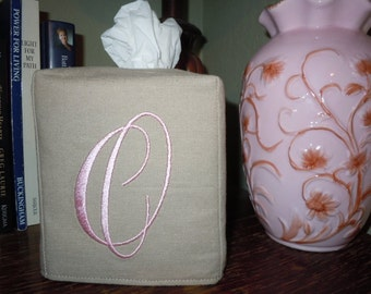 """Tissue Box Cover -  Made To Order - Monogrammed Linen Tissue Cover Special """"O"""" Lettering"""
