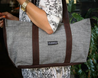 Gray, cotton, tote bag, laptop bag - Shay tote messenger