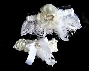 Bridal gartern set or prom garter ivory lace, ivory satin flower, rhinestone brooch, touch of blue