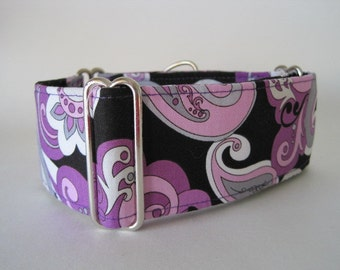 Purple Martingale Collar, 1.5 Inch Martingale Collar, Paisley Dog Collar, Purple Dog Collar, Made in Canada, Whippet Collar