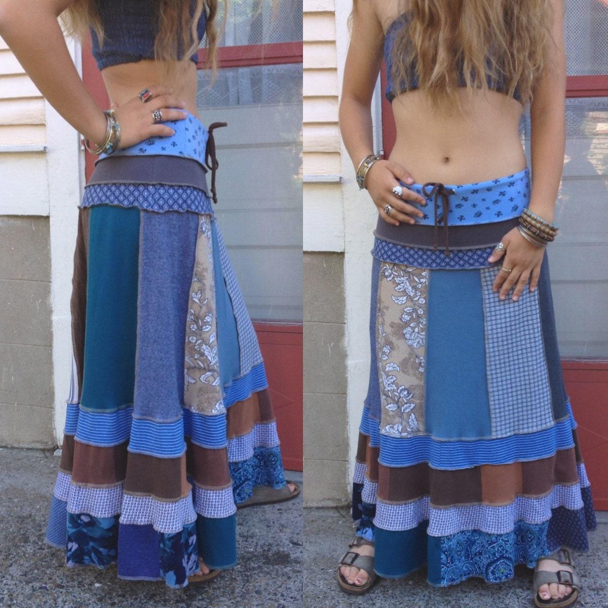 Eco long boho Skirt Size M/L upcycled clothing patchwork ...