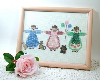 Cross Stitch Girls Room Wall Art, Three Girls in Pink Frame w/ Glass, Vintage Handmade Completed Cross Stitch Picture, Girl Nursery Decor