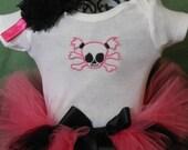 Newborn Hot Pink Pigtail Skull Tutu w/onesie and headband by I Love You Tutu Much