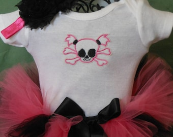 Newborn Hot Pink Pigtail Skull Tutu w/onesie and headband by I Love You Tutu Much