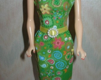 "Handmade 11.5"" Fashion doll clothes - green, yellow, blue and pink print dress"