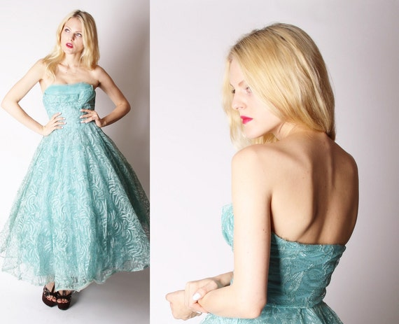Turquoise 50s Prom Dress / 1950s Blue Wedding Dress Dress