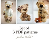 Set of 3 Artist Teddy Bear Patterns with description by Pudra Studio, Artist bear pattern, Teddy bear pattern, Sewing pattern, PDF Patterns