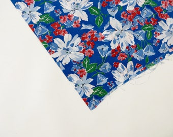 Vintage Fabric 1930s Fabric / 30s Fabric / 1940s Fabric 40s Fabric / Floral Print / Feedsack Fabric / Dress Fabric / Red & Blue