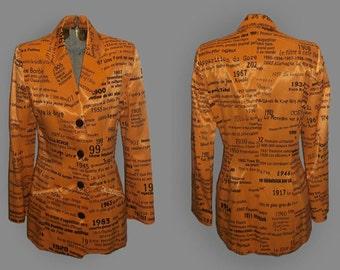 Vintage Jean Airoldi Pret-A-Porter Avant Garde Pop Art Word Art Name Art Number Art Fitted Lined Blazer Tuxedo Jacket Size 6