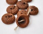 Acorn Cap Buttons •  Set of 15 Wooden Buttons