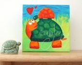 Cute Nursery Art, MAMA LOVE TURTLES, 5x5 Acrylic painting, Whimsical art for small walls