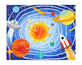 Children's Wall Art PRINT, SOLAR SYSTEM, 20x16 Giclee, Space Themed Art For Kids, Nursery Decor