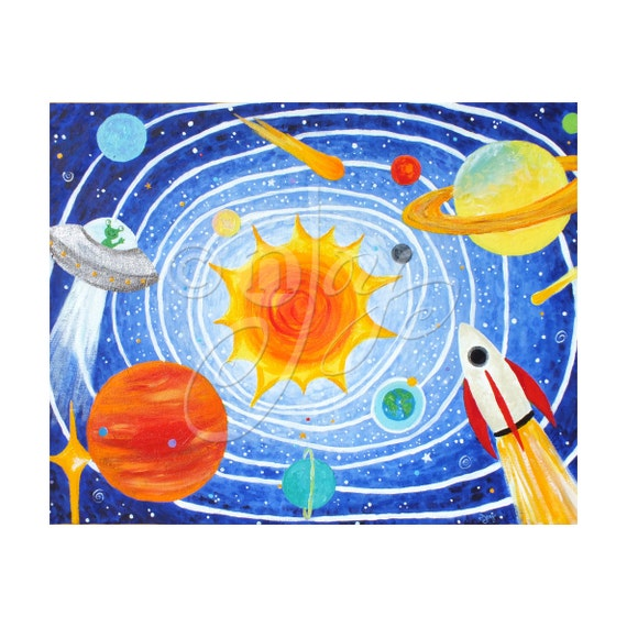 Children's Wall Art PRINT, SOLAR SYSTEM, 20x16 Giclee, Space Themed Art For Kids, Nursery Decor