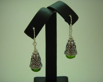 Olivine fire polished rondelle earrings