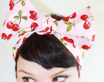 Vintage Inspired Head Scarf, Bandana Style, Pink with Cherries, Polka Dots, Rockabilly, Retro, 1940s, 1950s