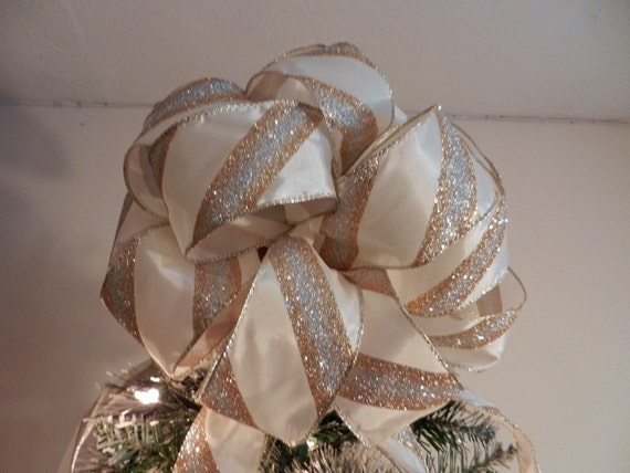 Large Christmas Tree Topper Bow Made Of An Ivory Ribbon With