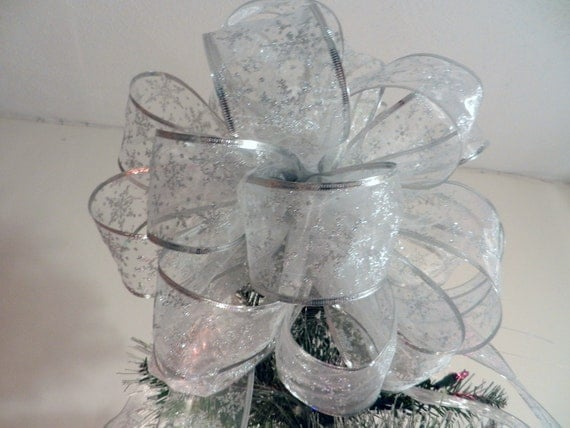 Large Silver Glitter Snowflake Christmas Tree Topper Bow