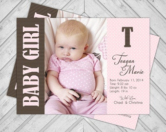 Baby girl announcements - creative birth announcements - custom baby announcements - pink and brown - printable or printed (224)
