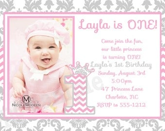 Pink & Grey Damask and Chevron Birthday Invitation - 1st Birthday Princess Invitations - Printable or Printed
