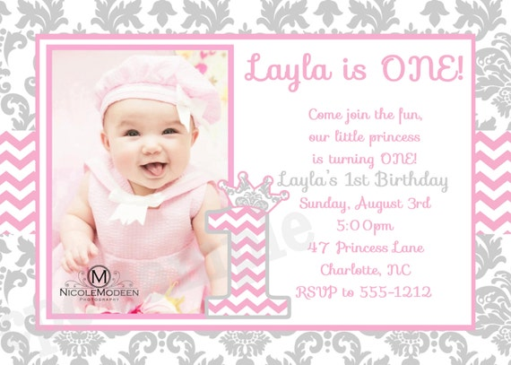 Pink Grey Damask and Chevron Birthday Invitation 1st – 1st Birthday Princess Invitation