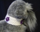 CROCHET DOG COLLAR white with purple flower button closure 11-12 inches