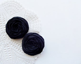 Black Fabric Roses Handmade Appliques Embellishment Set of 2