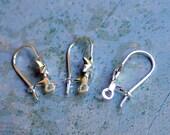 100pcs Earring Finding Silver Earwire 17mm Kidney With 6x6mm Star 20 Gauge