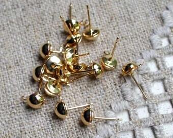 100pcs Earrings Findings Gold-Plated Half-Ball 8mm With Loop Earpost Earwire Earpost Ear Post Studs