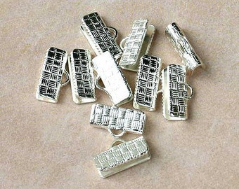 100pcs 19x6mm  Clamps Crimp Ribbon End Silver-Plated Brass Textured Finish