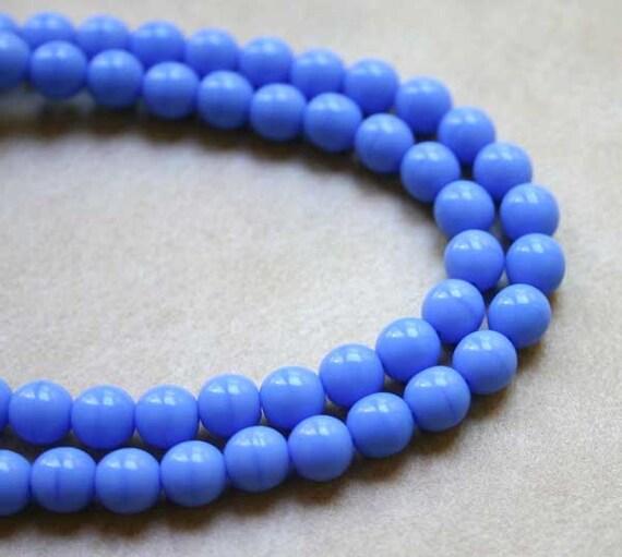 66pcs Light Blue Opaque 6mm Preciosa Czech Pressed Glass Beads Druk Round 16in