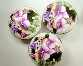 SET OF Eight   Polymer Clay Cabinet Knobs/Pulls 15 AVAILABLE    Pastel Color Flower Lavender Yellow White